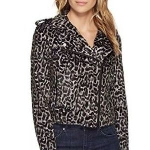 NWT Bebe Women's Leopard Print Moto Jacket
